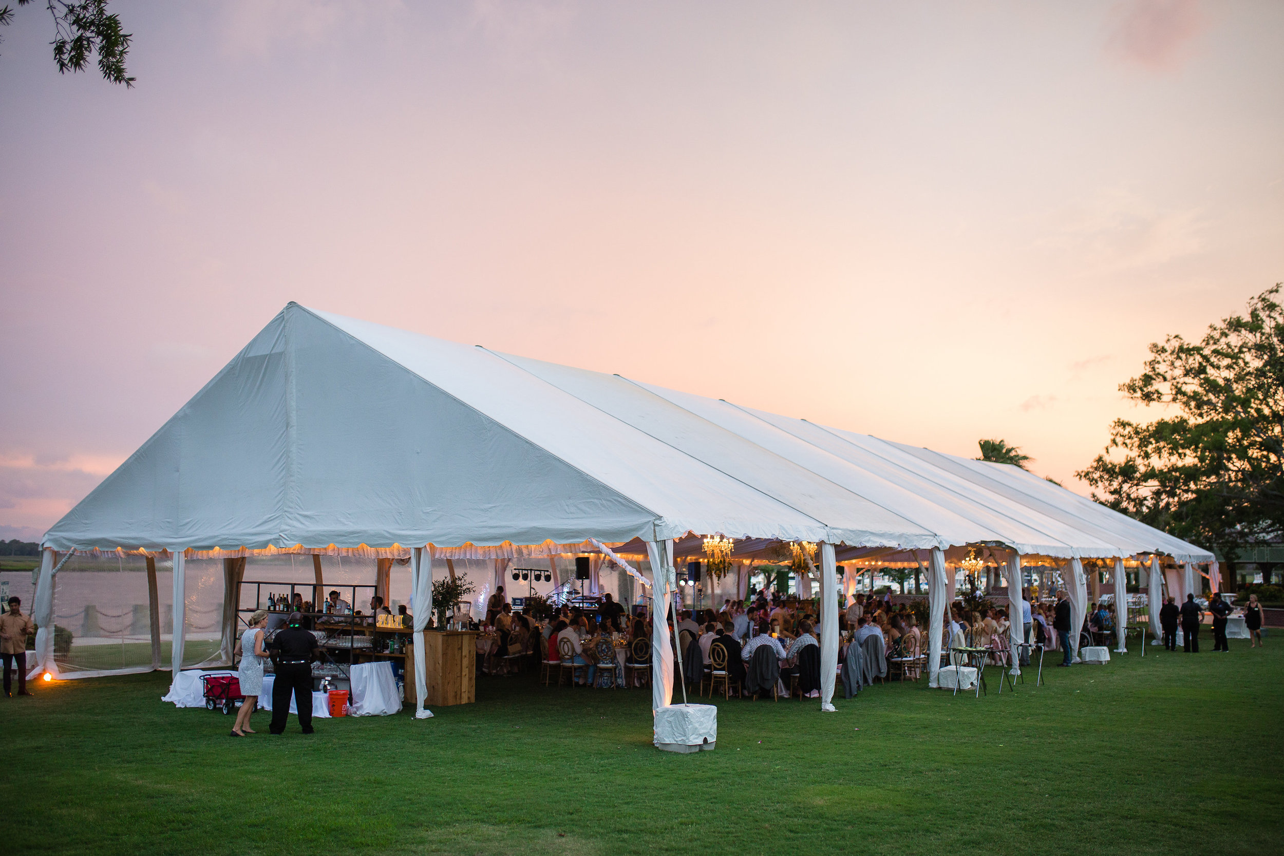 Tented wedding reception at Henry C. Chambers Waterfront Park in Beaufort SC