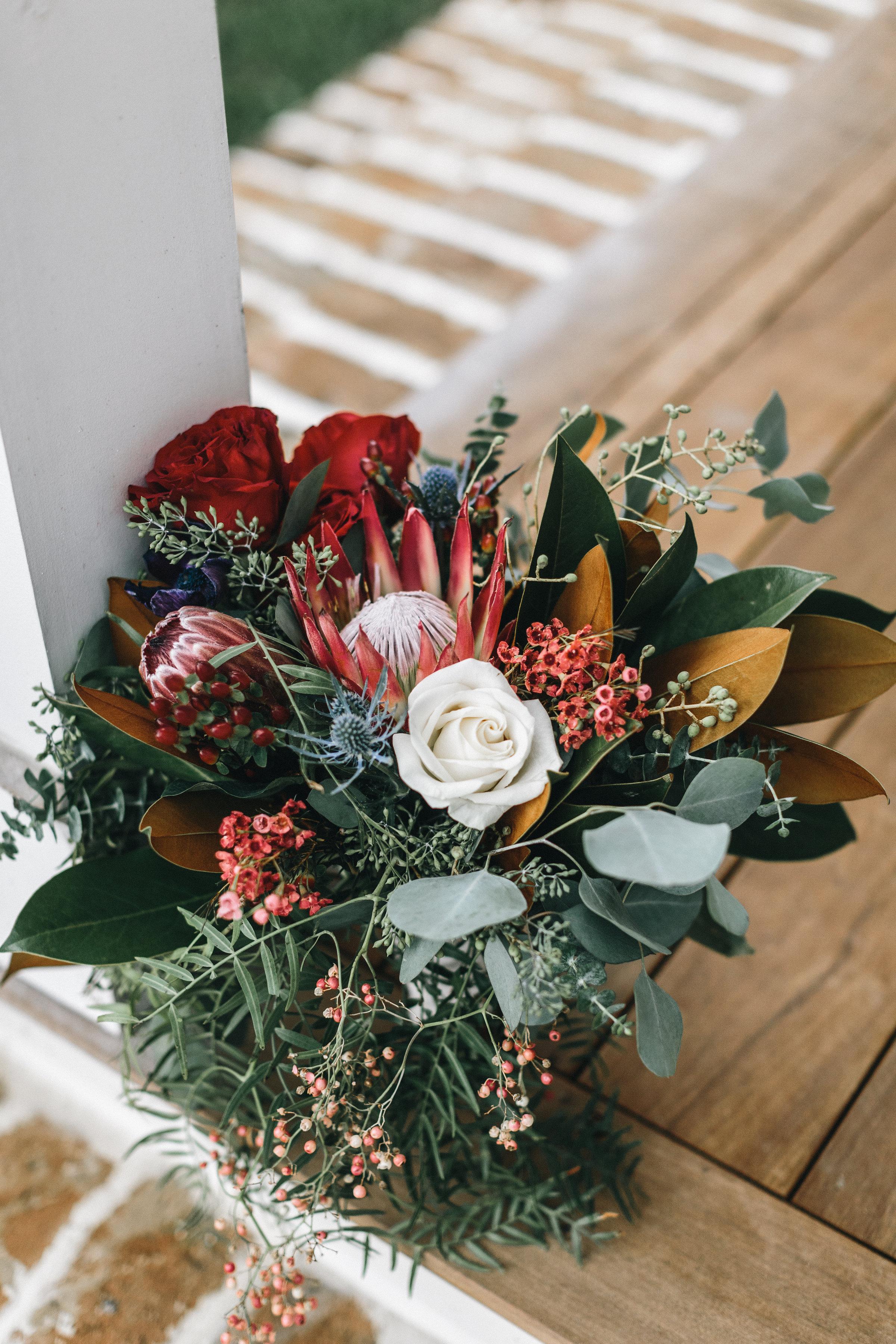 Savannah GA bride's king protea bouquet by Ivory + Beau  //  A Lowcountry Wedding Magazine