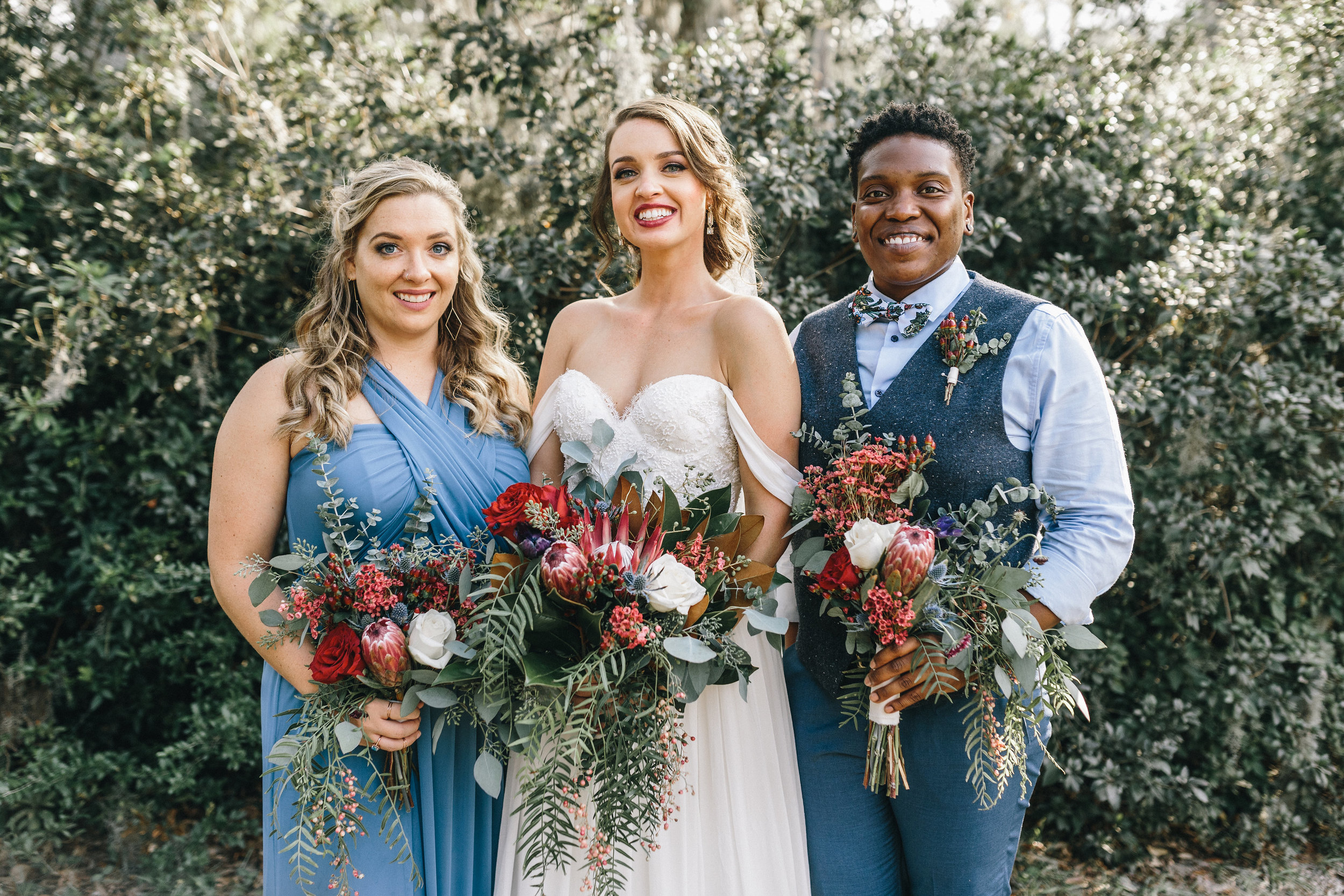 Savannah GA bride in a Sarah Seven gown from Ivory + Beau and her bridesmaids  //  A Lowcountry Wedding Magazine