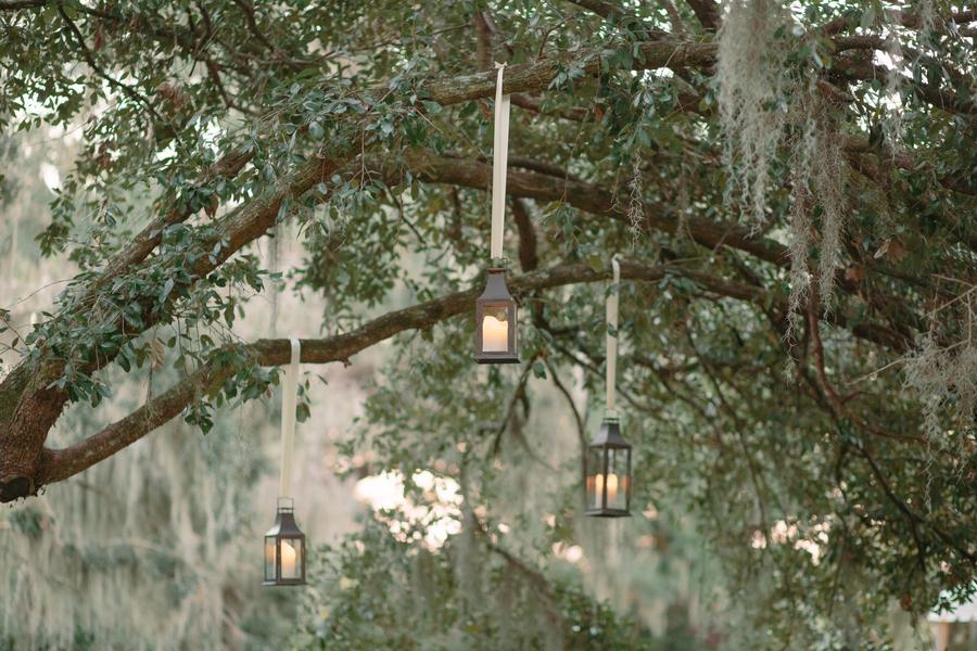 Hanging lanterns for wedding in Charleston SC
