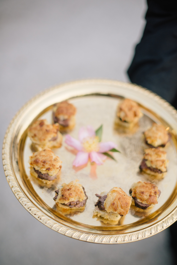 Miniature biscuits passed for cocktail hour at Magnolia Plantation  //  Catering by Duvall Events