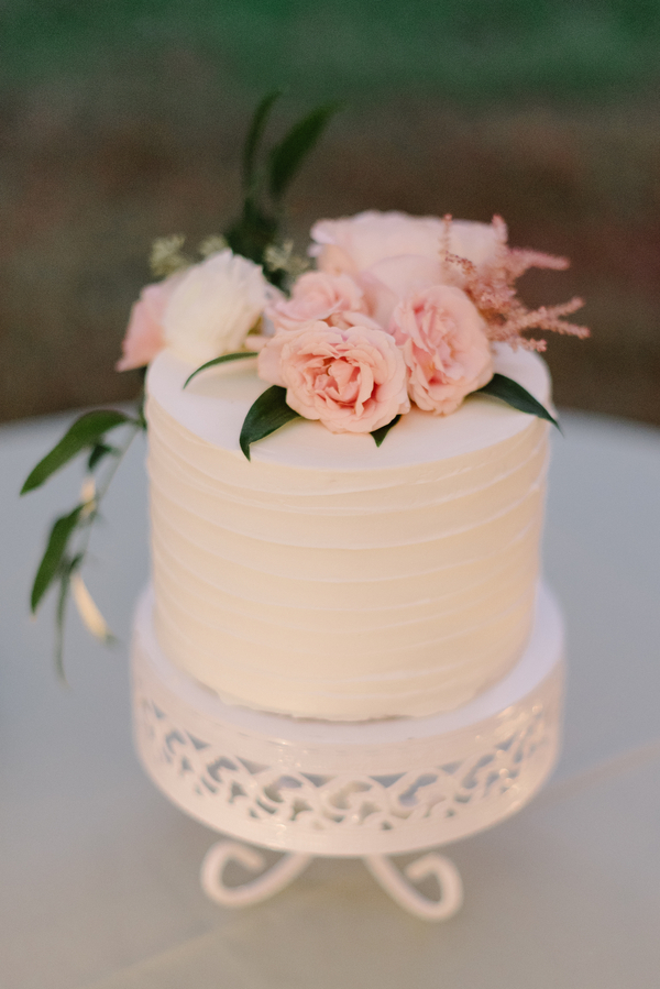 Small wedding cake by Duvall Events at Magnolia Plantation