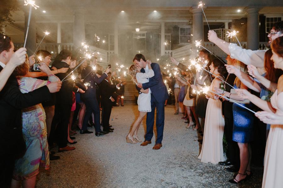 Sparkler exit at Magnolia Plantation and Gardens wedding