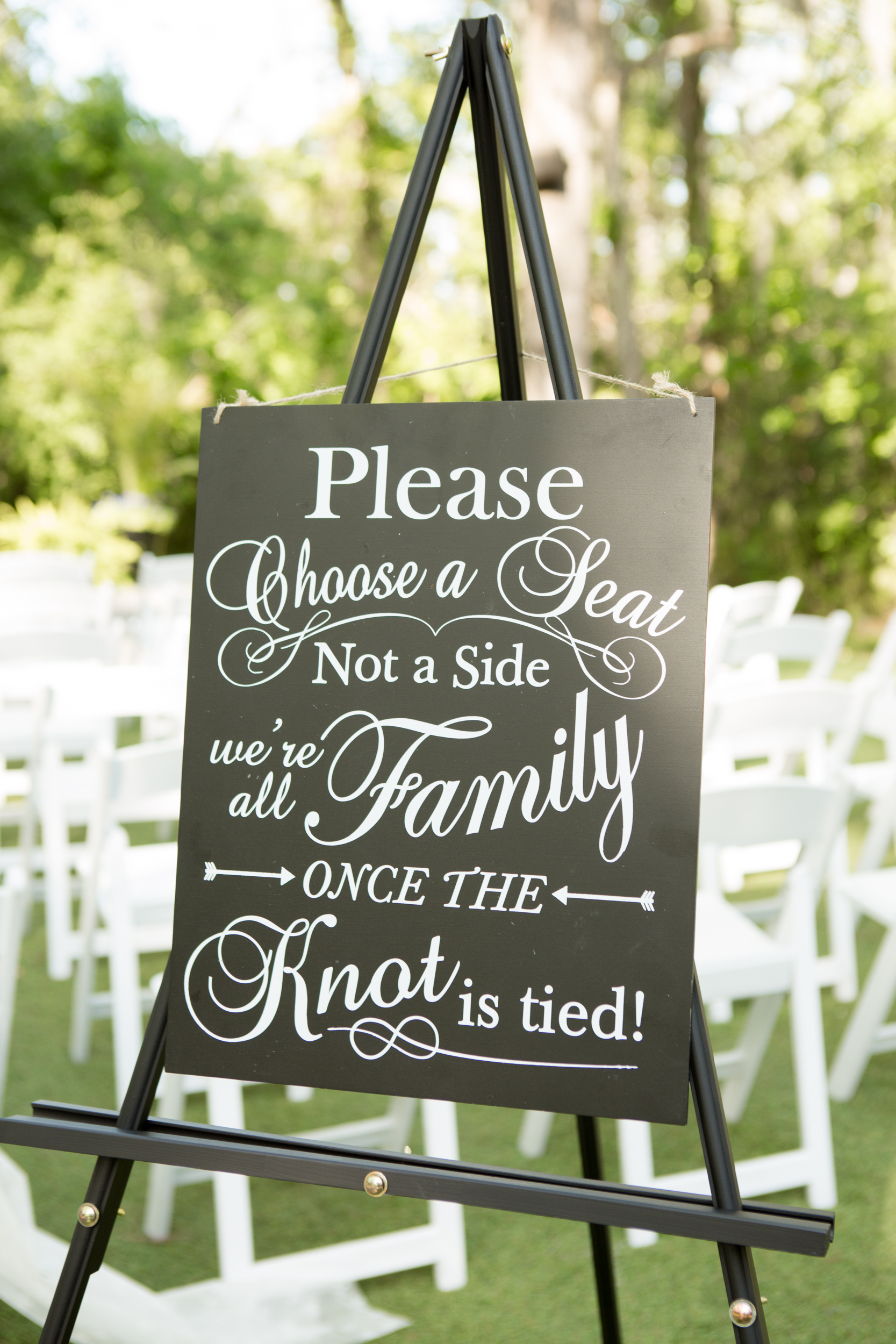 Wedding welcome sign for Savannah wedding at The Mackey House