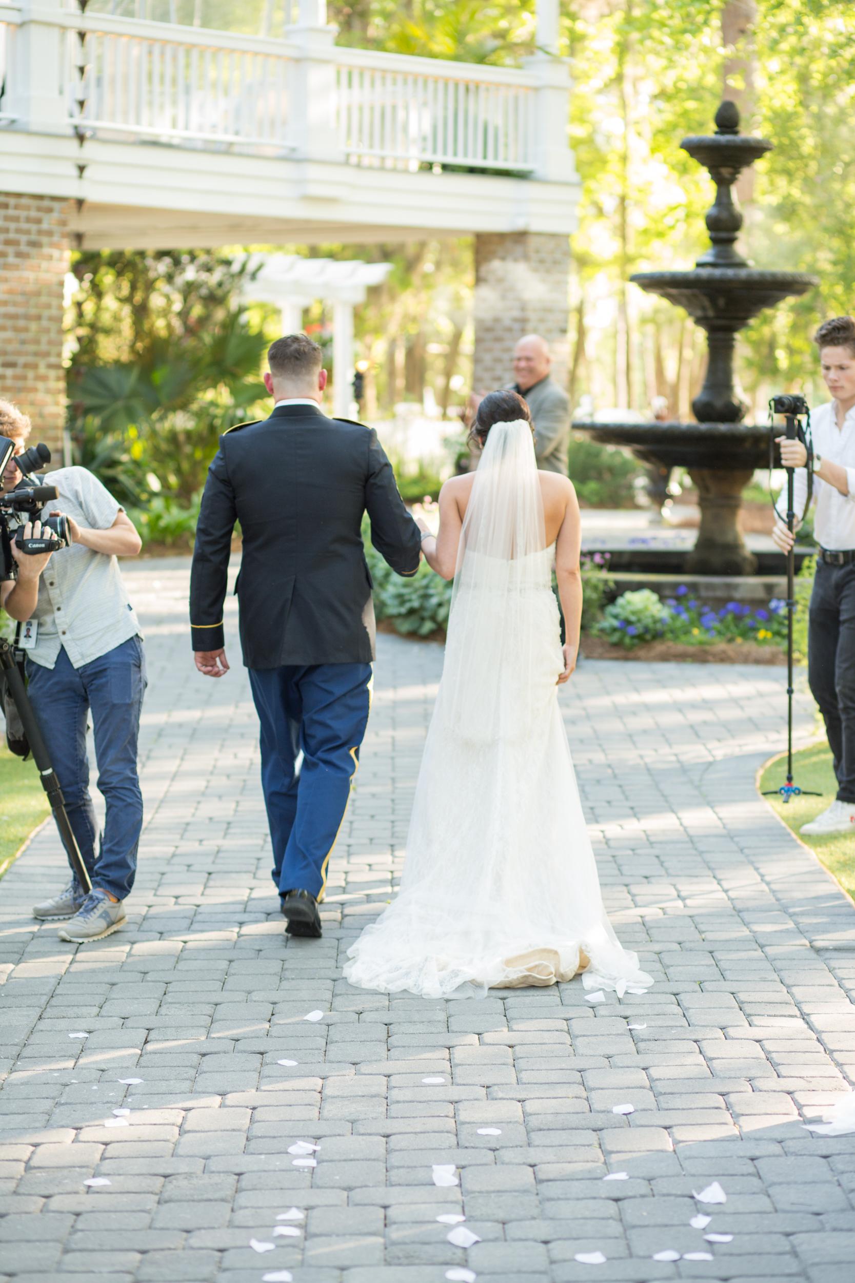 Outdoor wedding ceremony at The Mackey House in Savannah GA