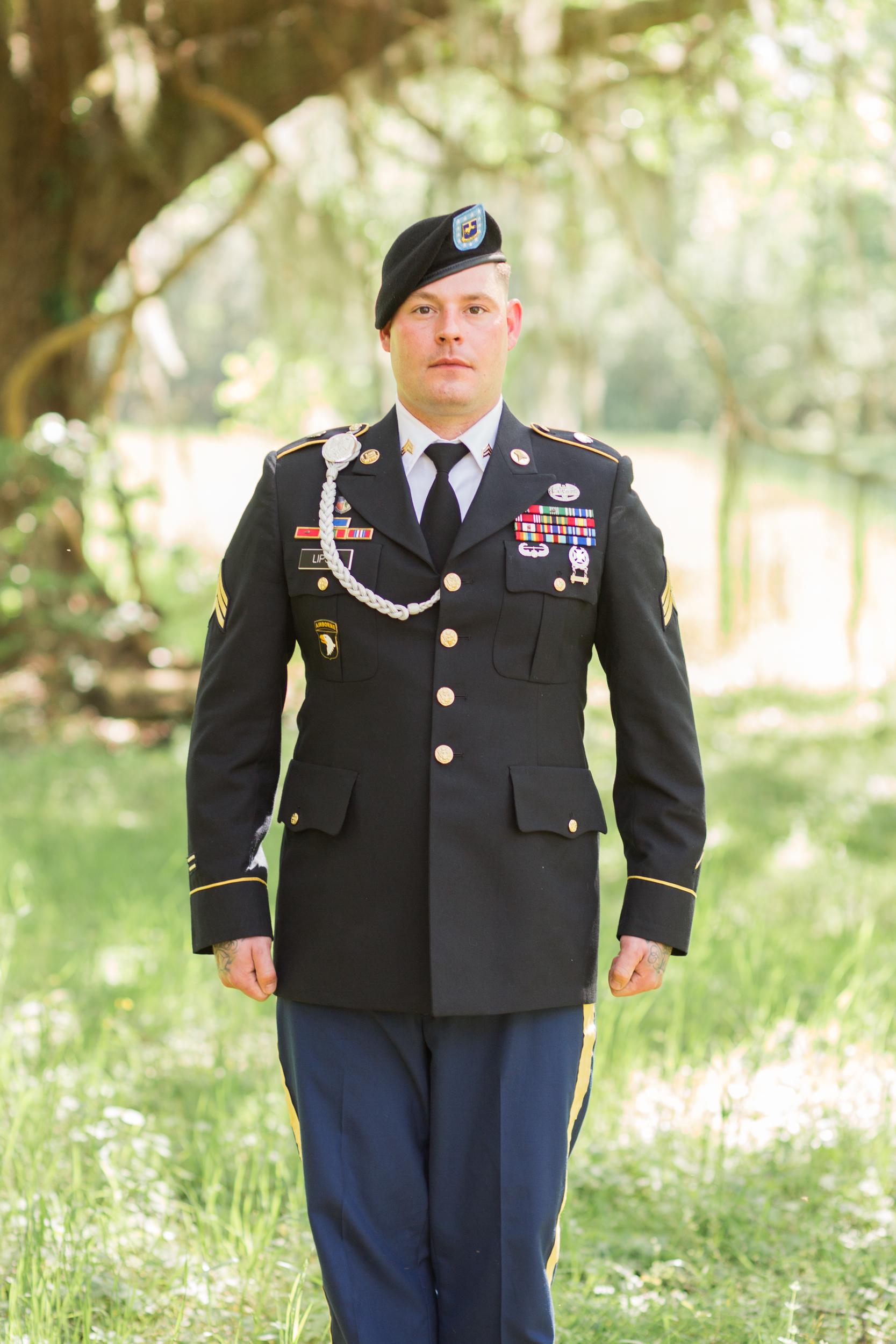 Bronze star recipient Adam Lipski in his military uniform for his Savannah GA wedding