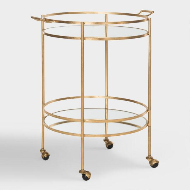 Round Gold Mirrored Bar Cart