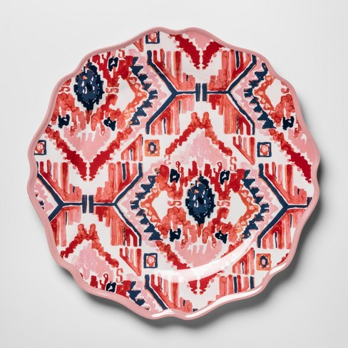 "Melamine Dinner Plate 10.5"" Pink/Red Ikat - Opalhouse"