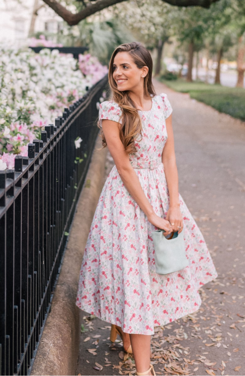 Packed Bouquet Print Cotton Dress