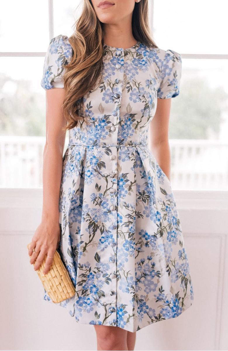 Margaret Poppy Jacquard Fit & Flare Dress