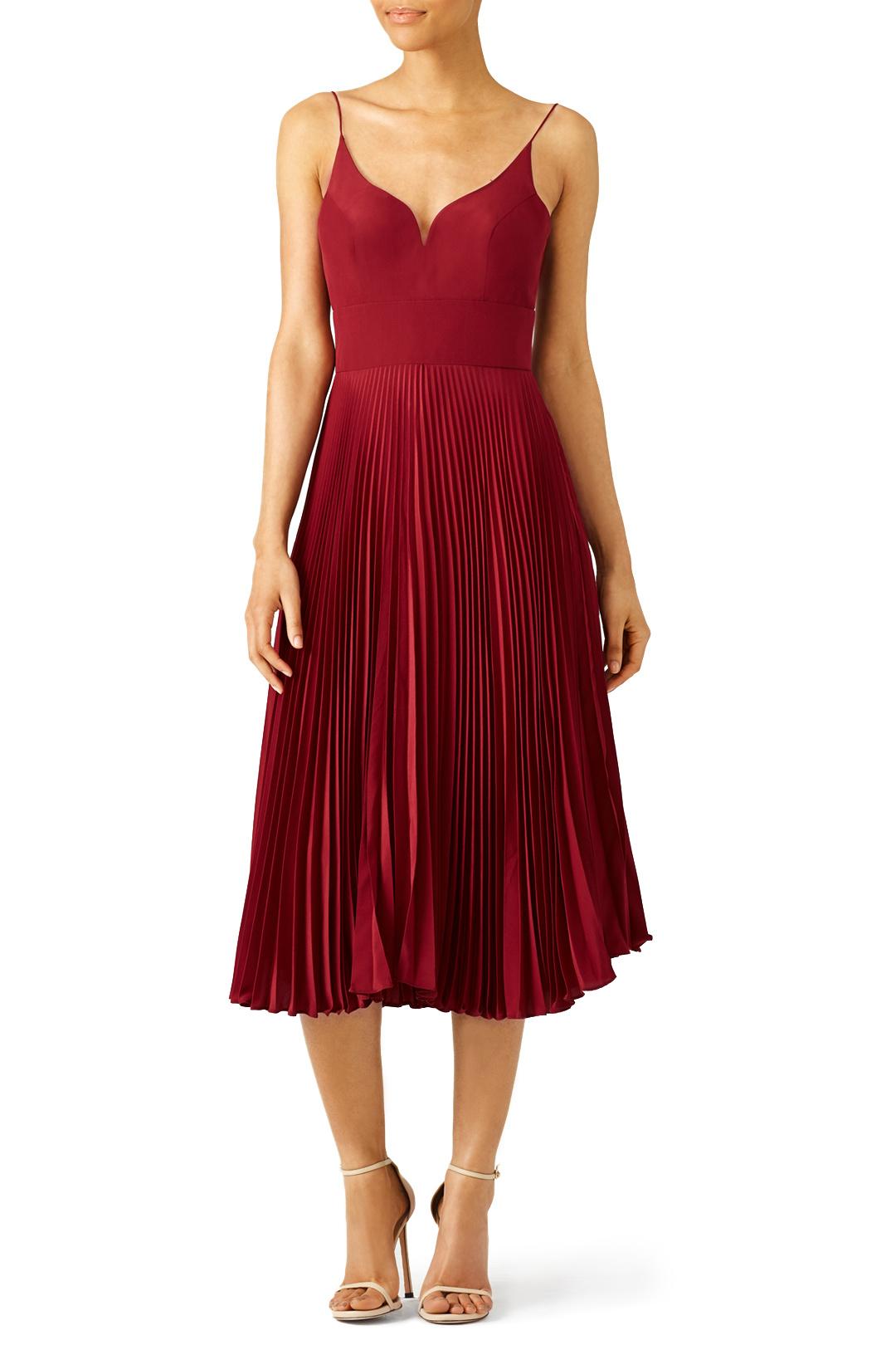 Nicole Miller Oxblood Pleated Sweetheart Dress - $80.00-$90.00
