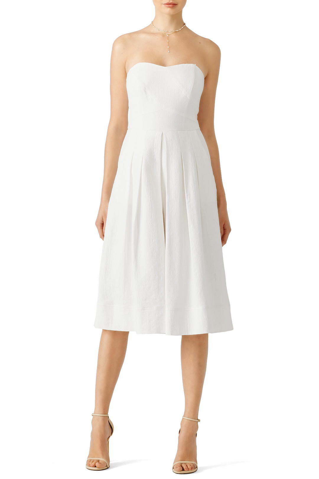 Greylin White Sweetheart Cropped Jumpsuit