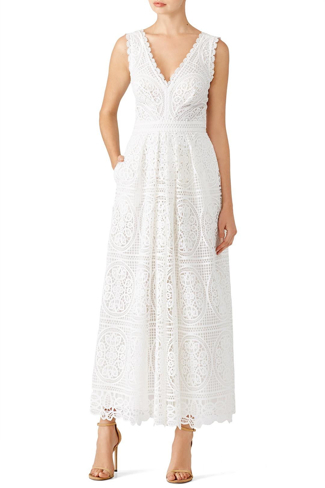 Temperley London White Lace Jumpsuit