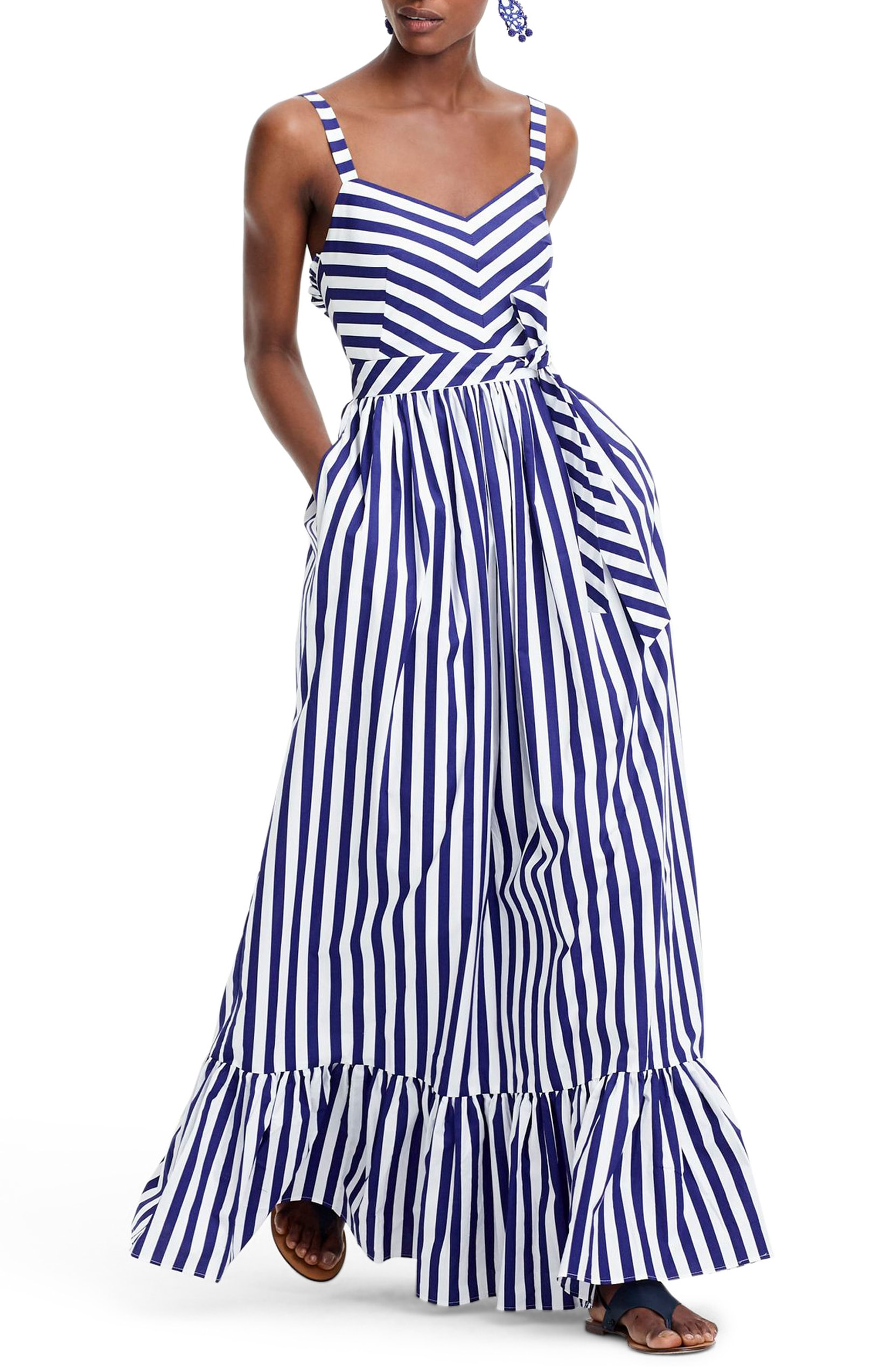 J.Crew Cotton Stripe Ruffle Maxi Dress