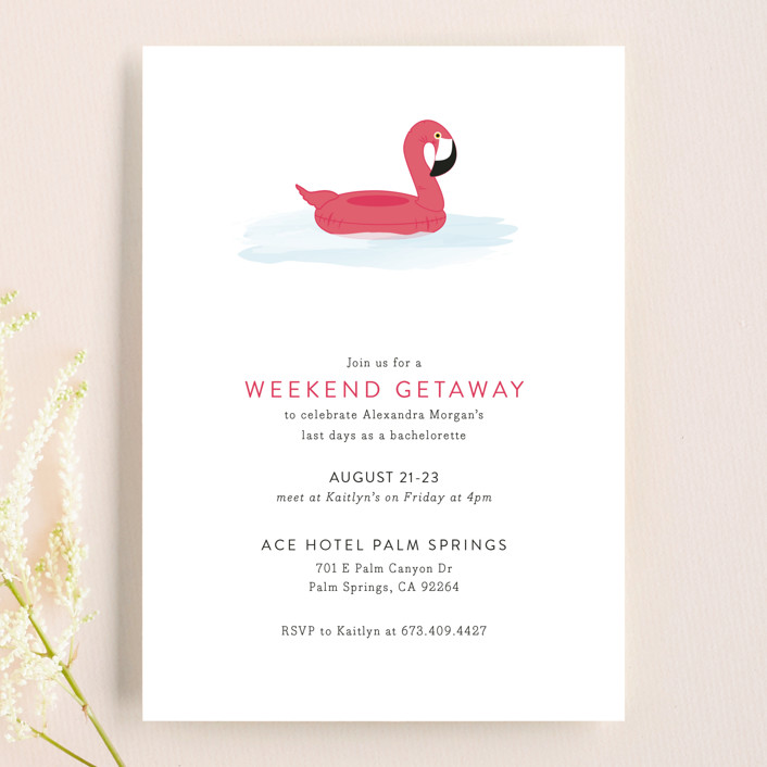 Flamingo Float Bachelorette Invitation