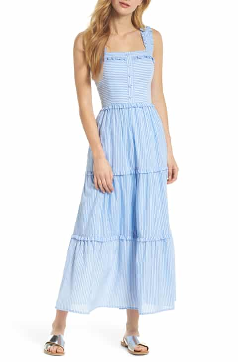 COURTNEY RIO STRIPE LAWN MAXI DRESS