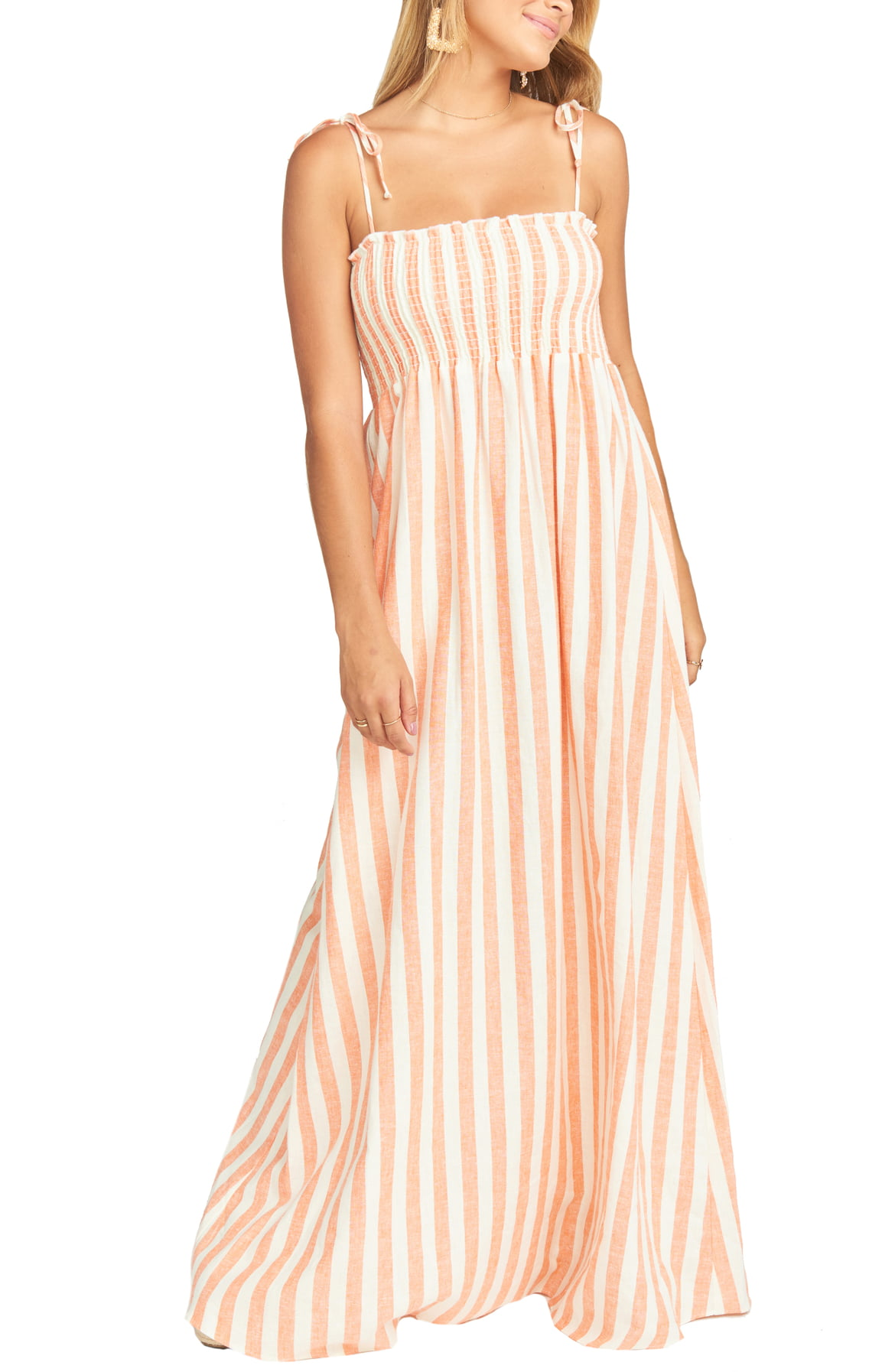 Maggie Stripe Linen Blend Maxi Dress