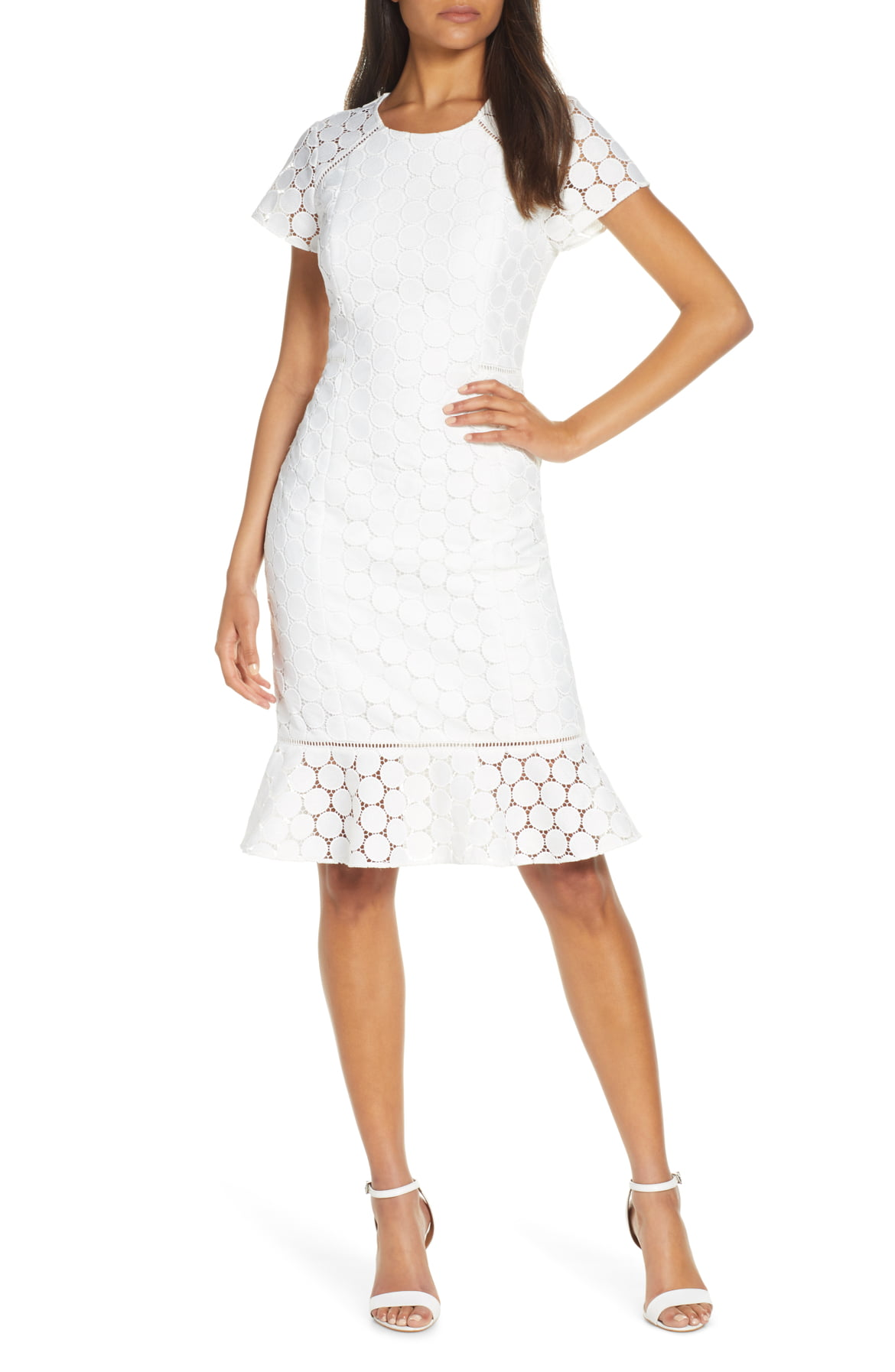 Aliza Polka Dot Lace Shift Dress