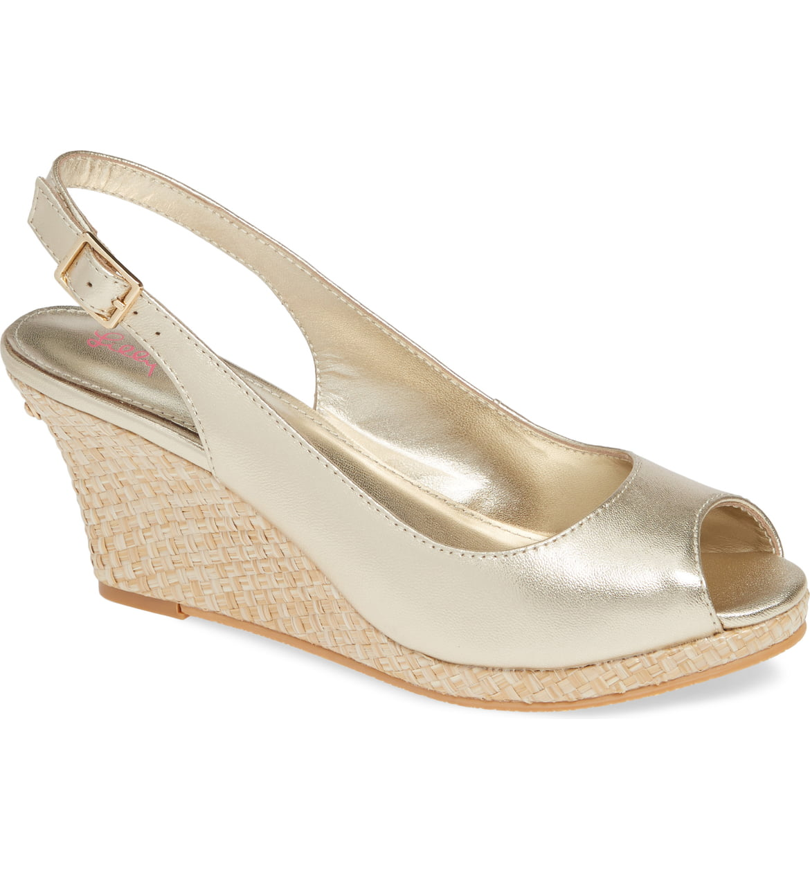 Gigi Slingback Wedge Sandal GOLD METALLIC
