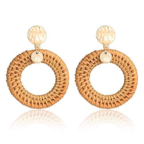 Rattan Hoops with Gold Disc
