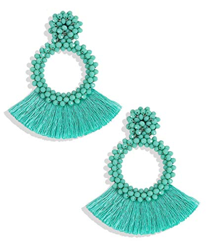 Circular Beaded Tassel Earrings
