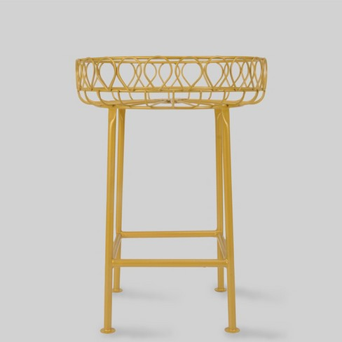 "12"" Mild Steel Plant Stand Gold - Opalhouse"