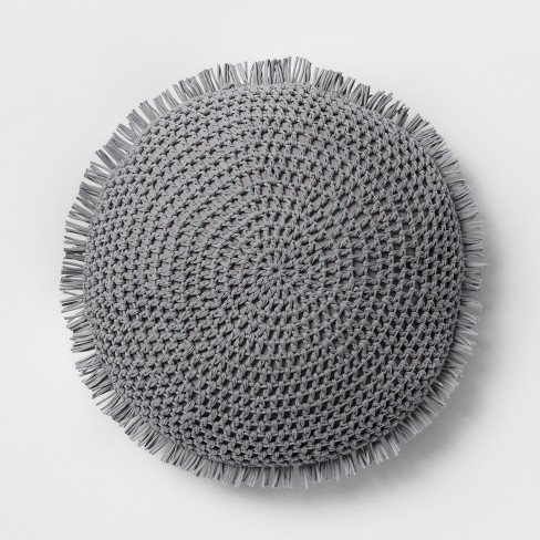 Round Knit With Fringe Throw Pillow - Opalhouse™