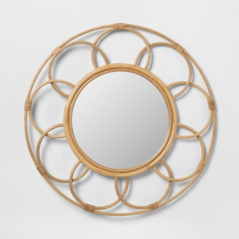 Round Rattan Mirror with Scalloped Border - Opalhouse™