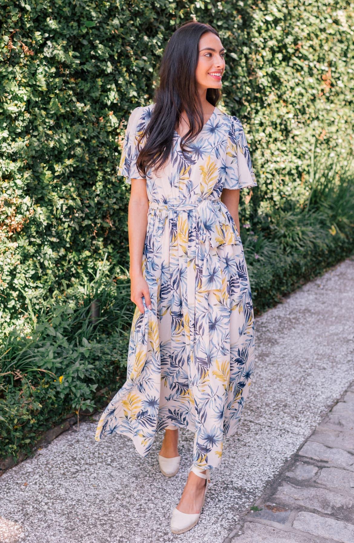 Kiki Leaf Print Chiffon Maxi Dress