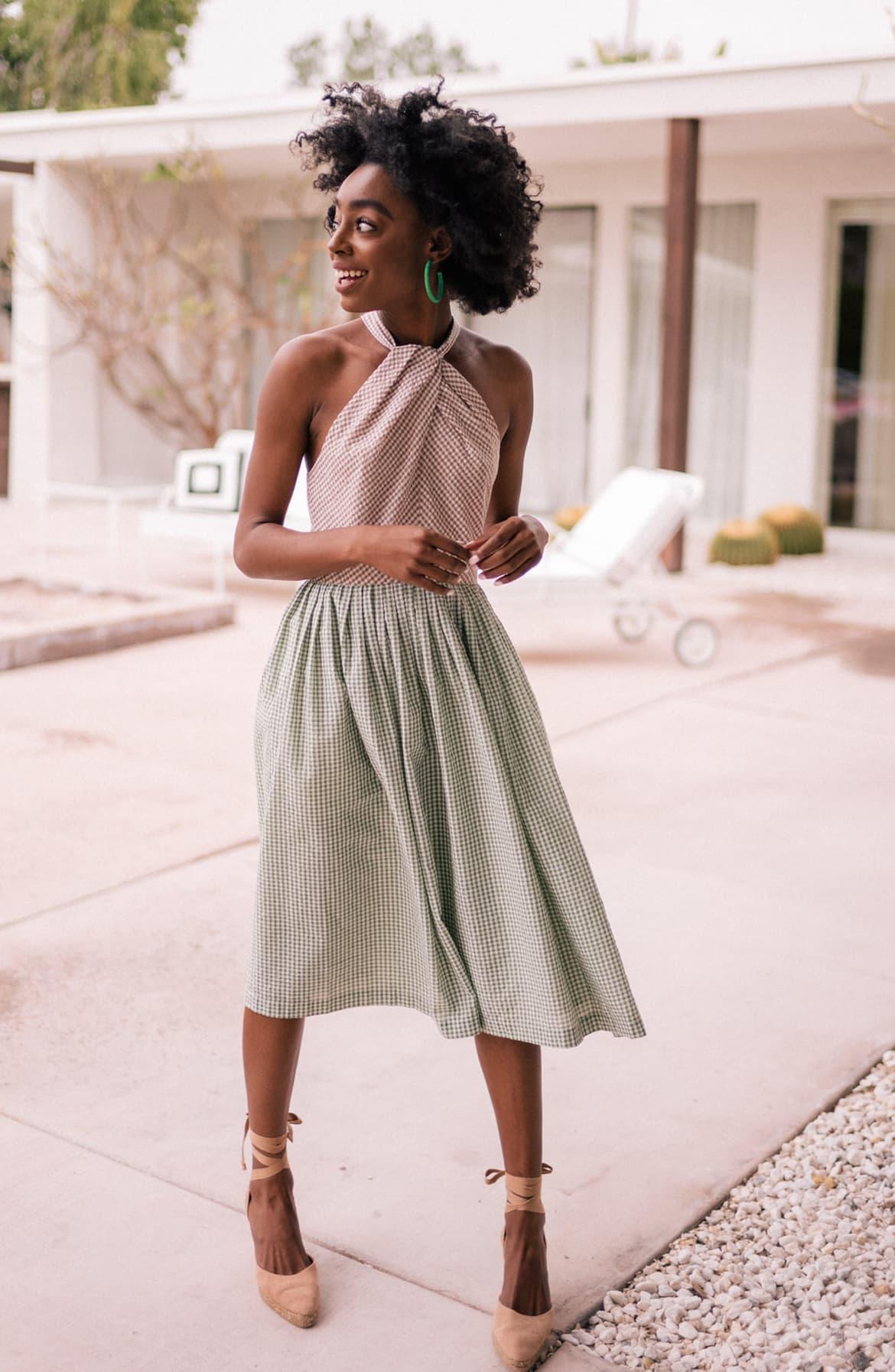 Alma Two-Color Gingham Halter Neck Dress