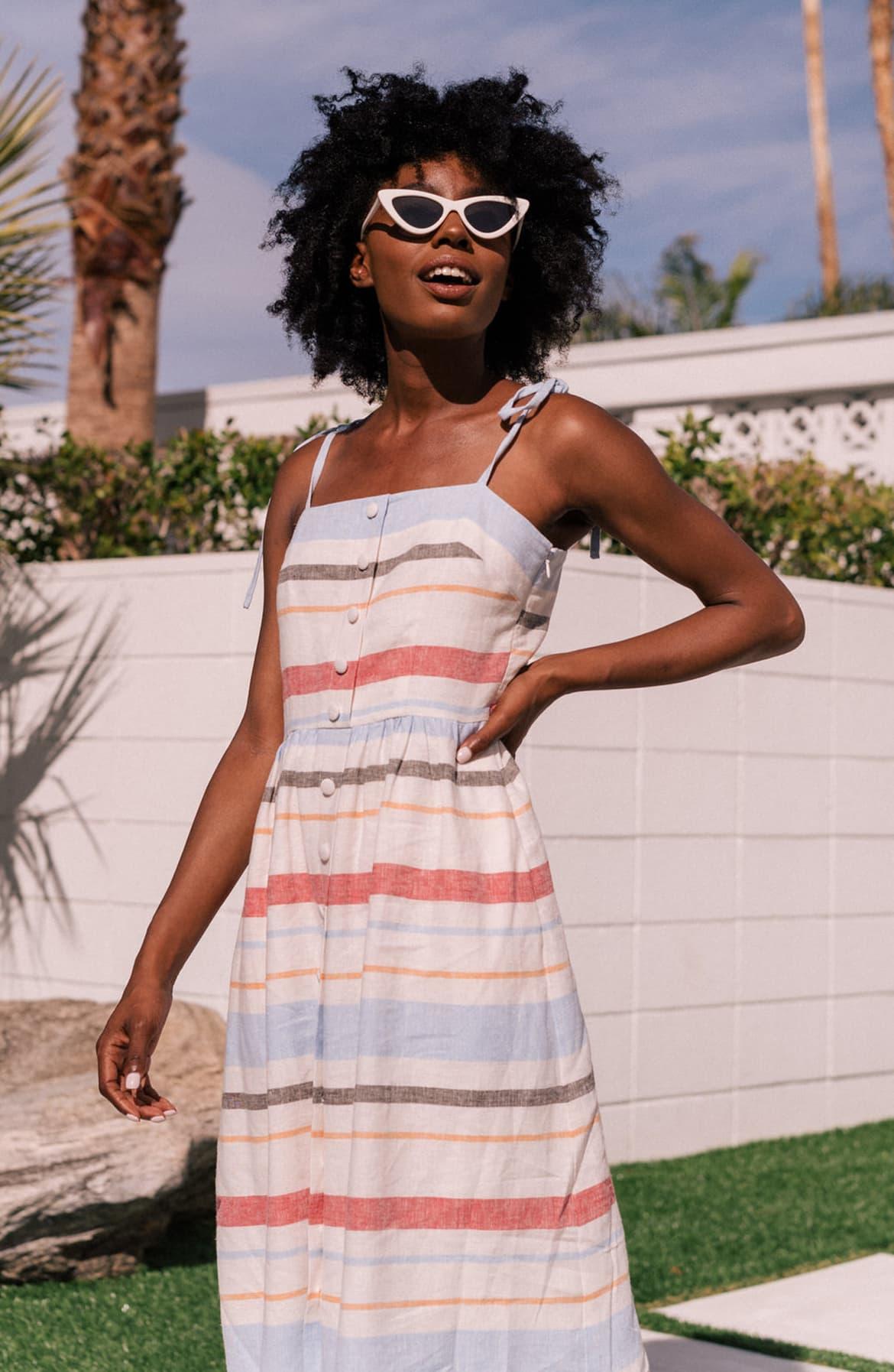 Hattie Stripe Linen Blend Sundress