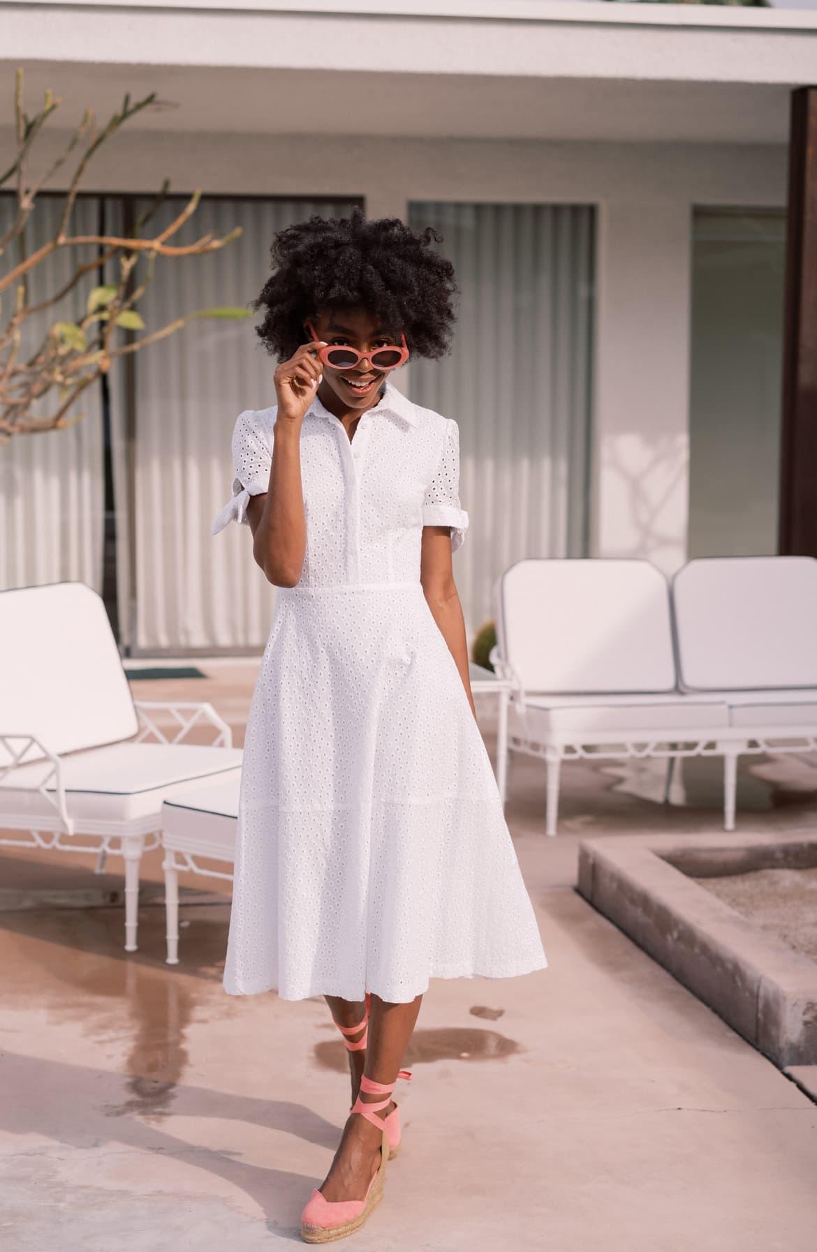 Judith Puff Sleeve Cotton Eyelet Dress