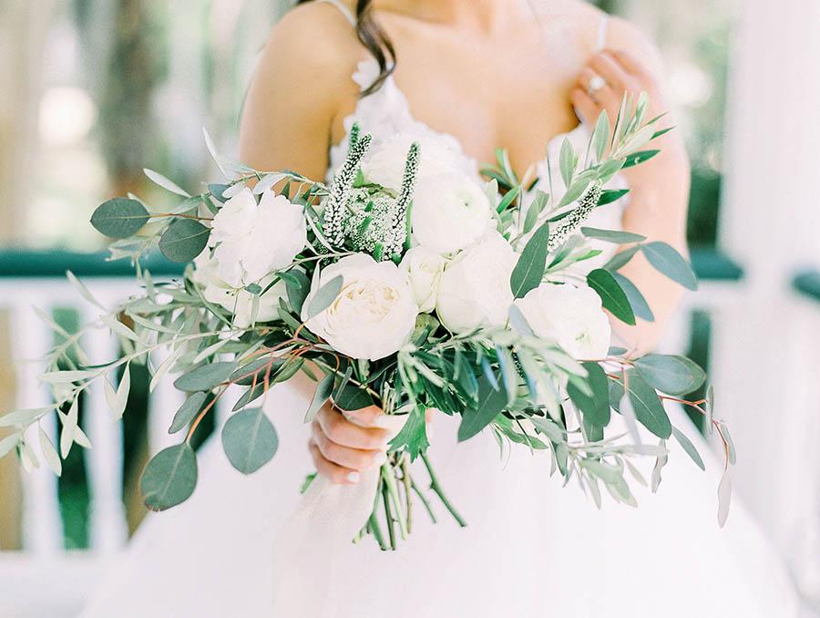 All white bouquet at Beaufort Inn wedding
