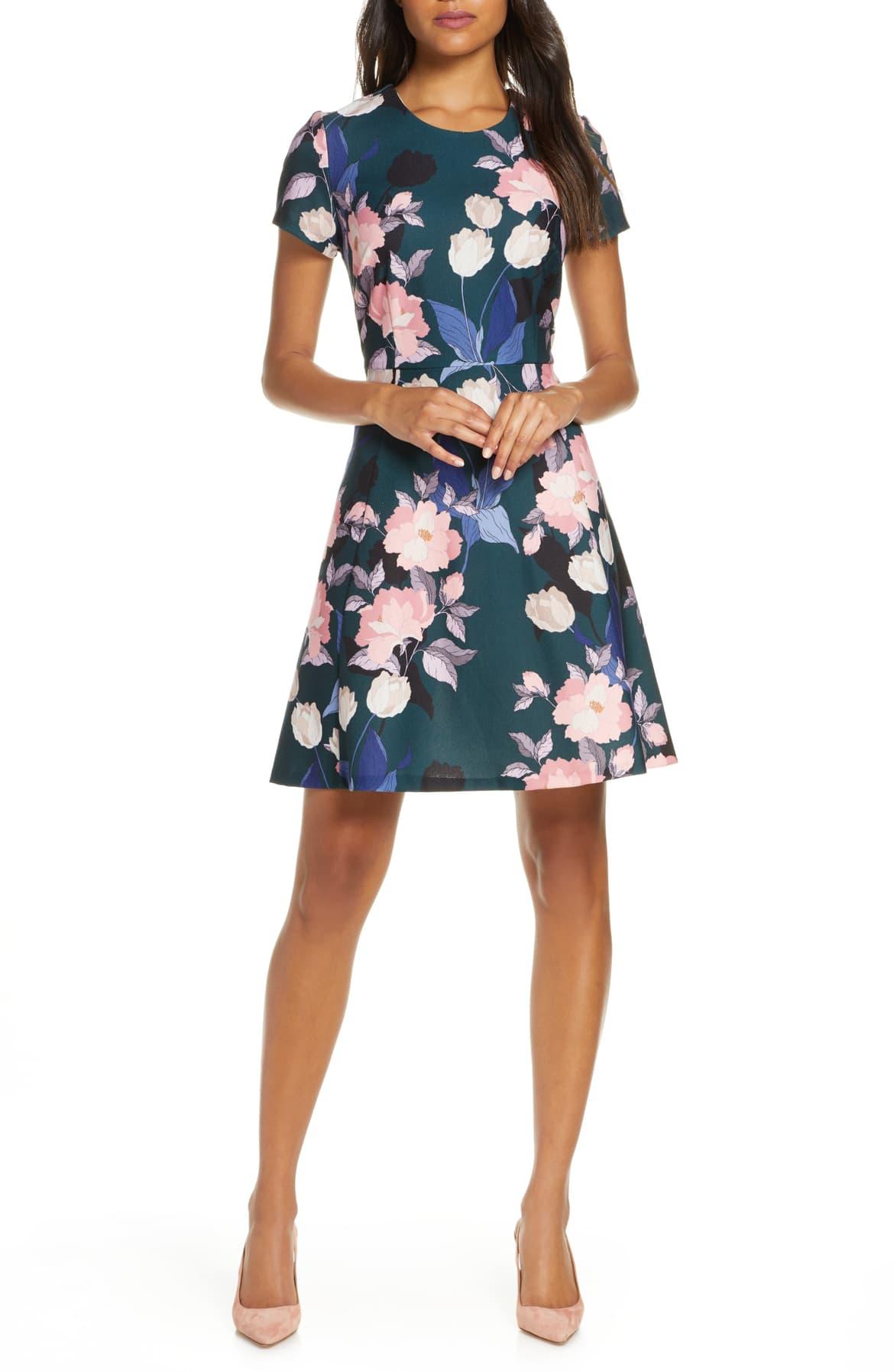 Eliza J Print Short Sleeve Fit & Flare Dress