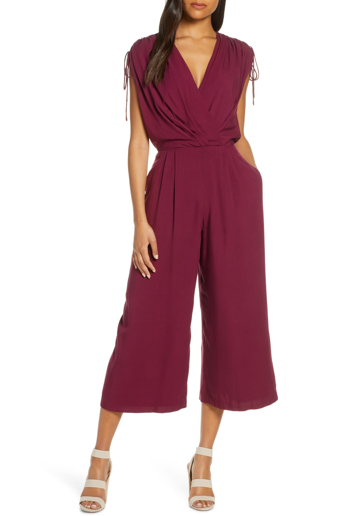 Gal Meets Glam Luella Ruched Shoulder Crop Jumpsuit