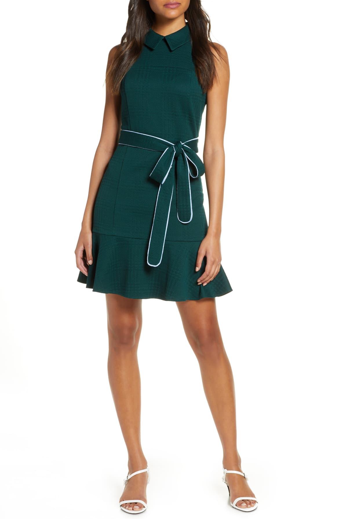 Sleeveless Textured Fit & Flare Dress