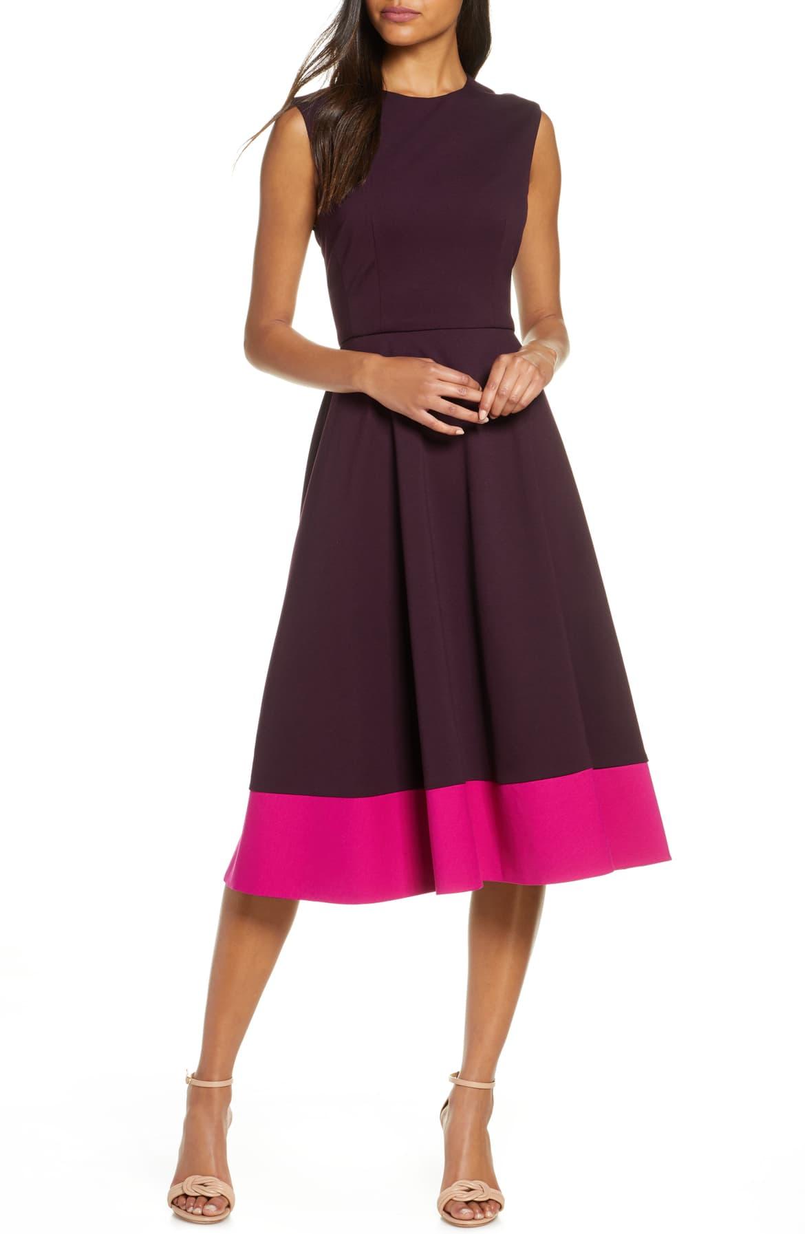 Contrast Hem Sleeveless Dress