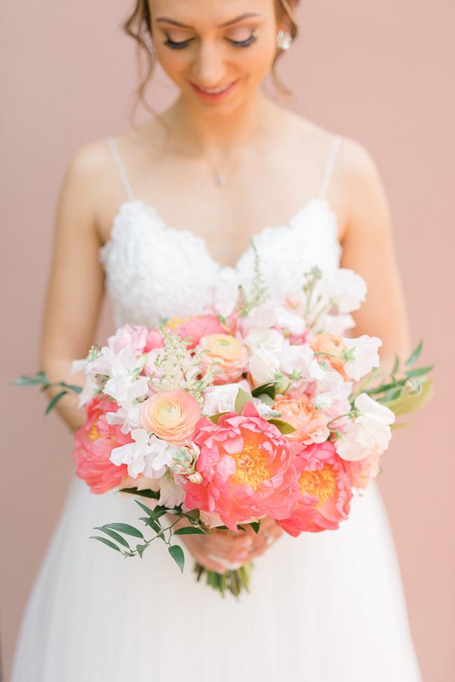 Pink peony bouquets for Savannah Yacht Club wedding
