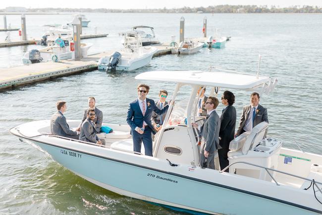 Groom arriving for Savannah Yacht Club wedding