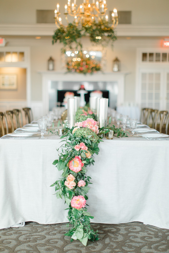 Coral Details and Pink Peonies for Savannah Yacht Club wedding