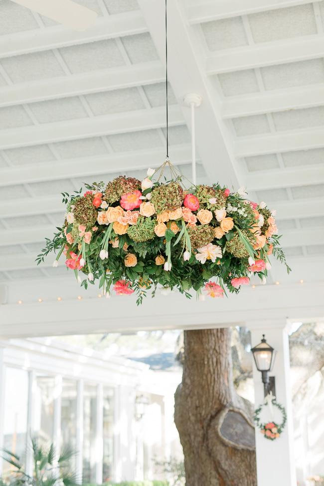 Pink peony floral chandelier at Savannah wedding