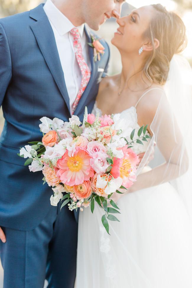 Pink peony bouquet for Savannah Yacht Club Wedding