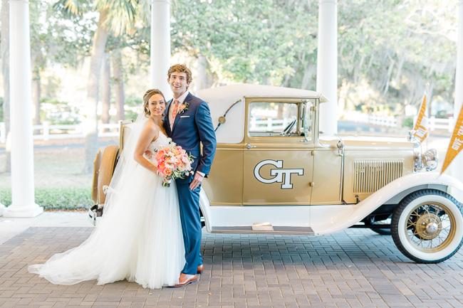 Georgia Tech Rambling Wreck Car at Savannah wedding