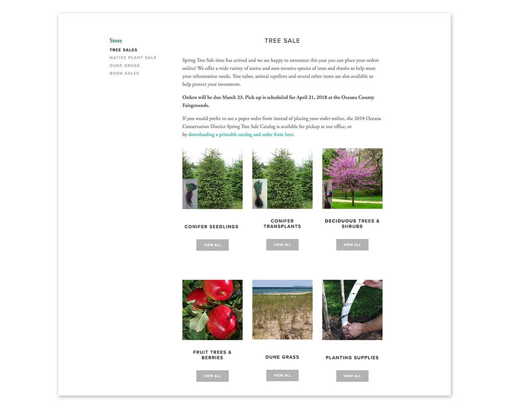 Tree Sale Main Category Page
