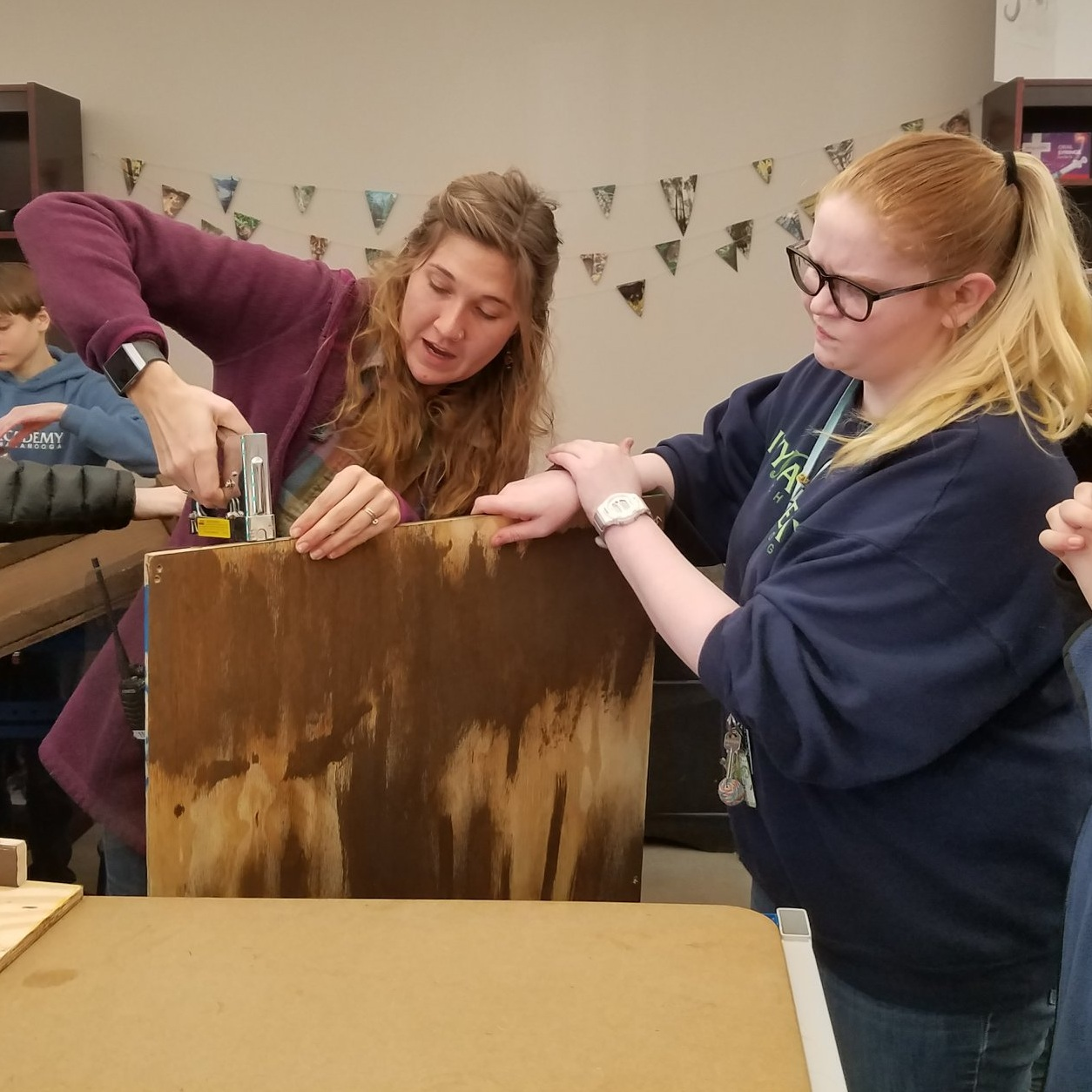 Ms. Foster building bat boxes with Agricultural Science students.