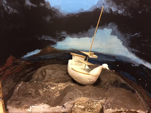 Noah diorama in process aaron delehanty.JPG