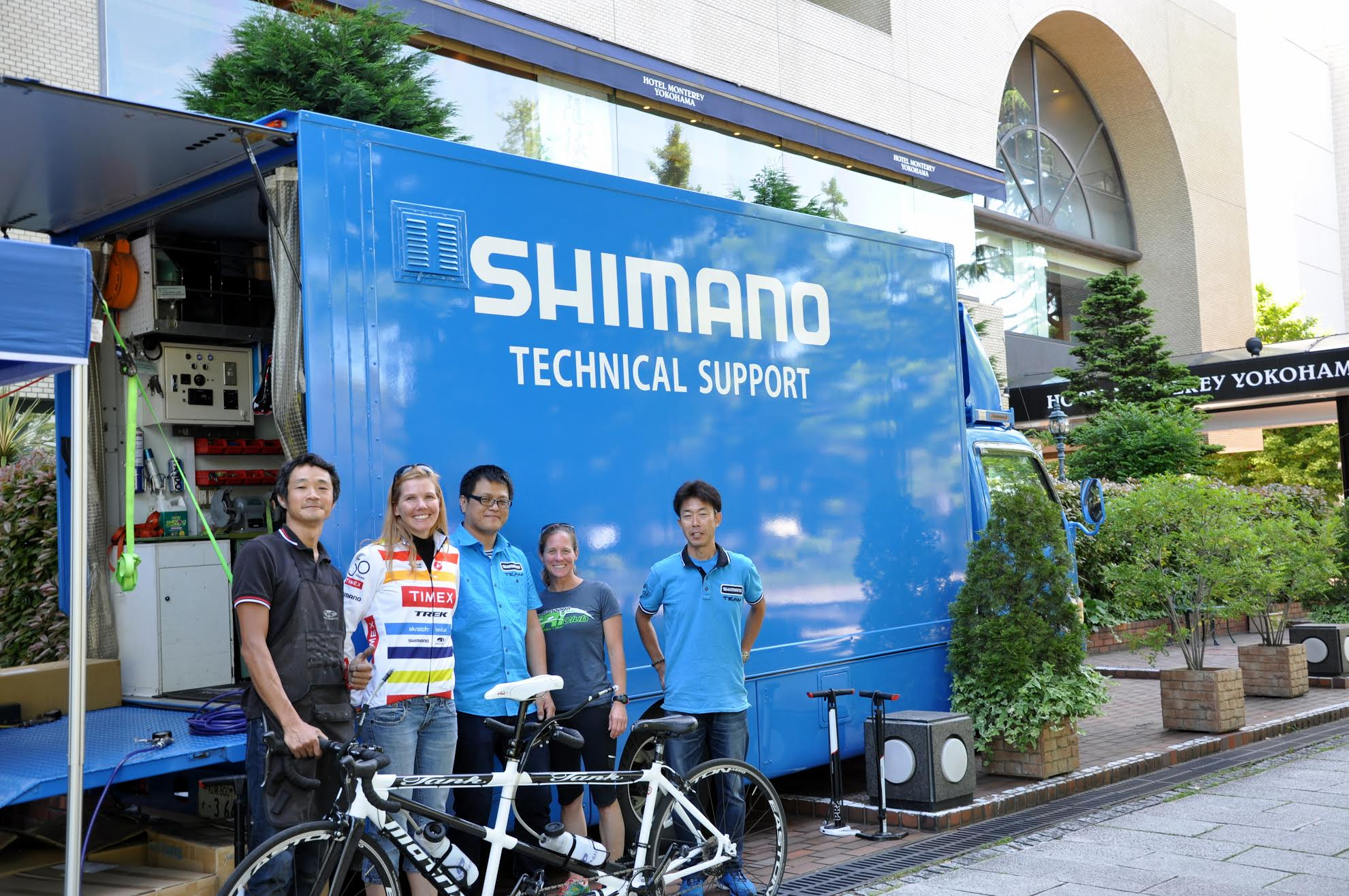 Helen and Liz hanging out with the crew at Shimano