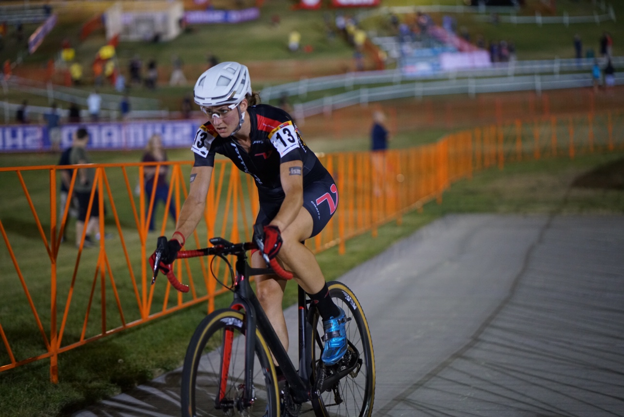Former Timex Team athlete, Cassie Maximenko, raced in the women's pro race and had a solid night despite being hit by a truck only a few weeks earlier.