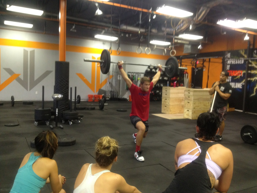 getting called out by Coach G to demo a complex in the weightlifting club