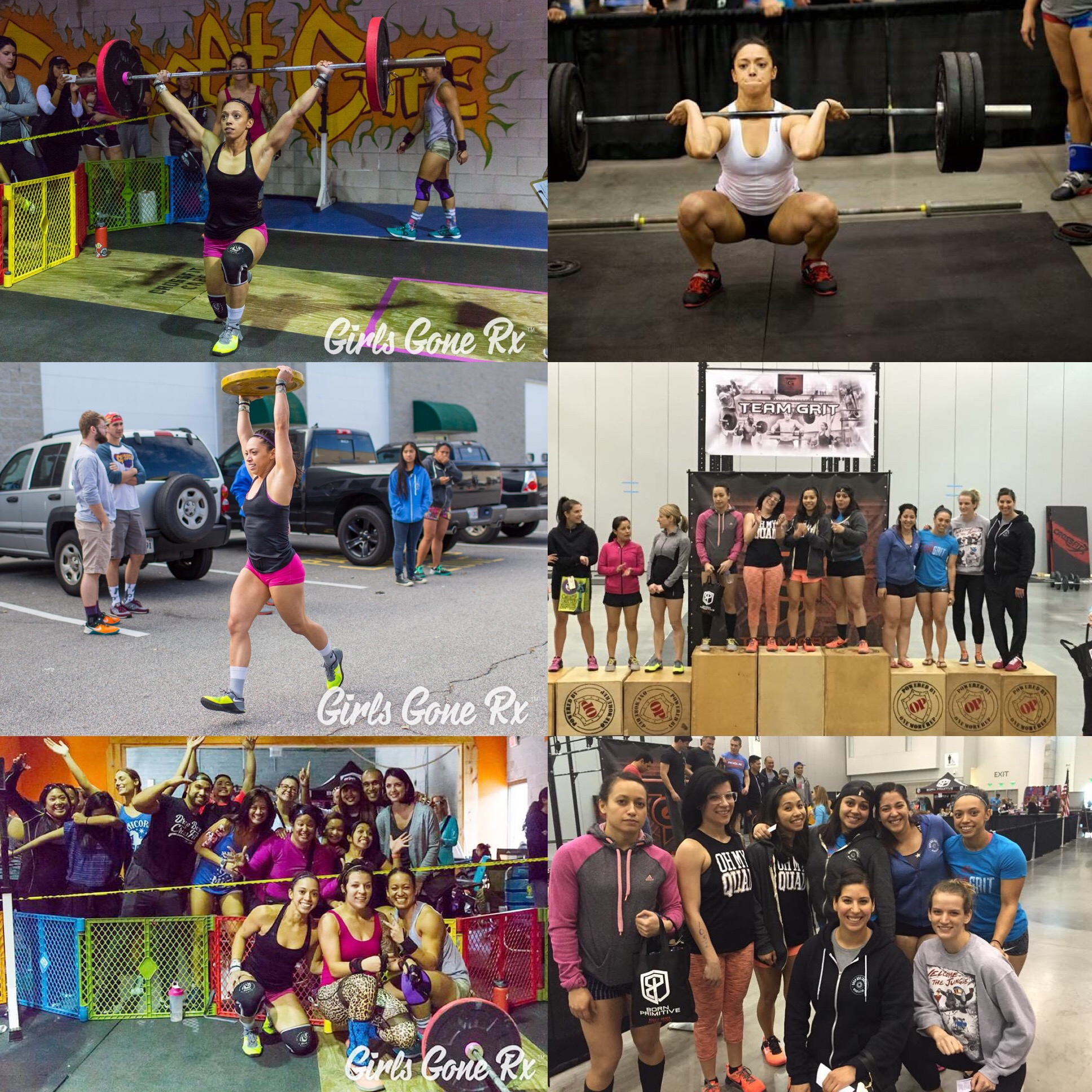 KC has competed in three competitions since starting CrossFit. Pictured: Girls Gone RX & Team Grit
